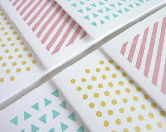 Geometric Patterns - Set of 6 Gocco Printed Note Cards