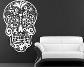 Sugar Skull Wall Decal dia de los muertos Vinyl Sticker Art Mexican Sugar Skull