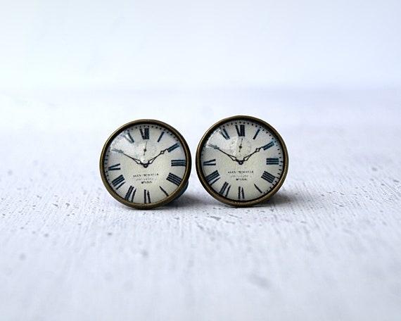 Clock studs earrings- tiny ear stud - Clock -Watch earrings - clock earrings- everyday earrings - Minimalism- modern - grey white black