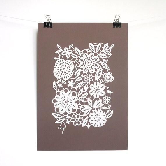 Papercut lace, hand-cut paper lace, white, sepia, A4