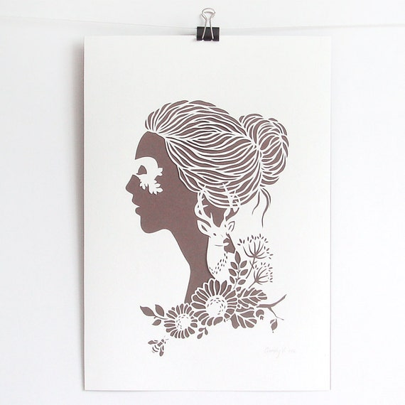Dryad - hand cut silhouette papercut poster - white, sepia, A4