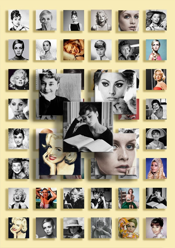 Instant Download - Digital Collage Sheet - JPG&PNG format - Audrey Hepburn,  Marilyn Monroe, Twiggy, Sophia Loren - 1x1 inch squares