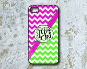 iPhone 4 Case, Personalized iPhone Covers, Smartphone Cover, Hot Pink, Lime Green, Chevron (1010)