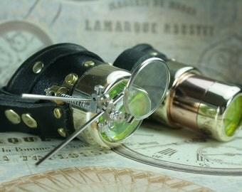 Steampunk. goggles, black. leather, brass, copper, telescope, magnifiers