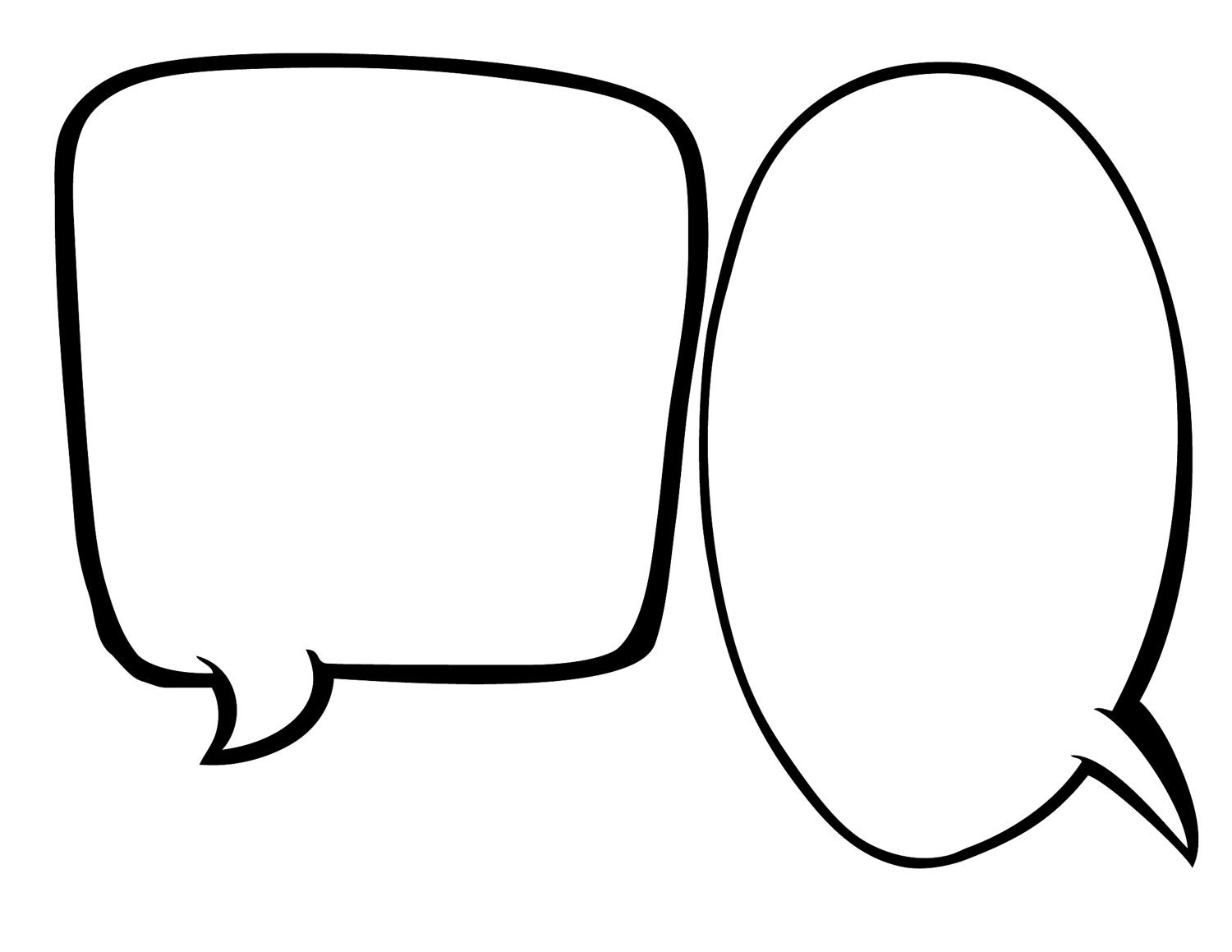 Text Bubble: Blank Speech Bubbles 1/2 Page INSTANT DOWNLOAD
