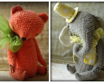 SUPER DEAL 2 PDF Epatterns for 8 inch Handmade Artist Teddy Elephant Mr Lemon and Bear Strawberry by Sasha Pokrass