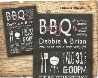 BBQ Baby shower invitation - Barbecue baby shower invite -  BBQ co-ed baby shower invitation - Babyq printable chalkboard invite DIY