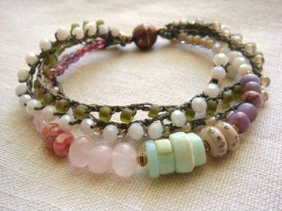 Pastel Bead Stranded Bracelet Pink Aqua Sage Moss Lilac White Beaded Crochet Boho Chic