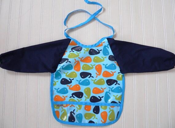 18-24  months toddler boy bib with sleeves, urban zoologie whales, navy blue, robert kaufman, ann kelle