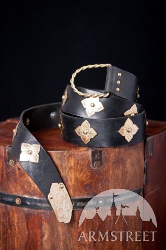 20% DISCOUNT! Long Medieval Leather and Metal Belt