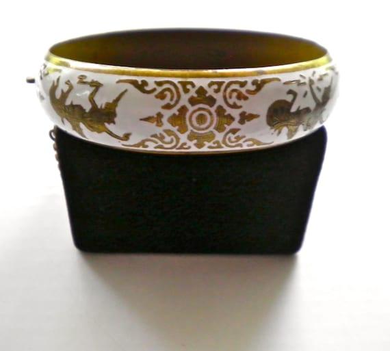 SIAM vintage Wide Clamper Bracelet  Goddess of Lightning and God of Thunder