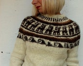 Vintage Clothing / 70s Cream Knitted Sweater / Nordic /  Wool / S Size / Winter