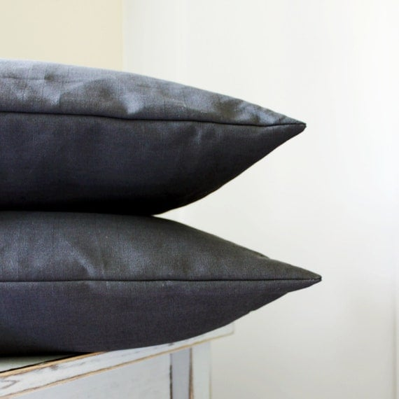 Charcoal Grey Throw Pillow : 2 Solid Grey Pillow Covers Dark Grey Throw by laughterandsand