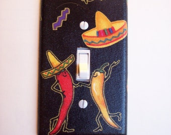 Dancing Peppers Fiesta Single Toggle Switch Plate, wall decor