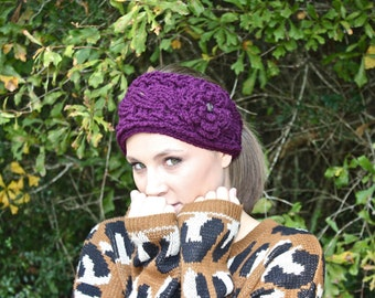 Crocheted Cable Twist Headband/Earwarmer - Plum