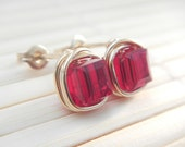 Ruby Red Post Earrings in Gold Fill, Crystal Cube, Handmade, July Birthstone, Minimalist, Everyday