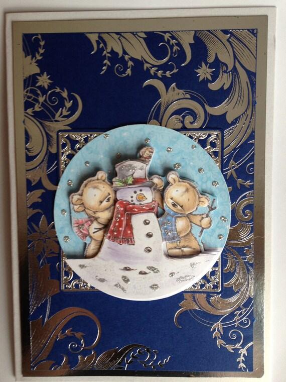 christmas card, teddy bear, snowman, decoupaged,royal blue and silver foil