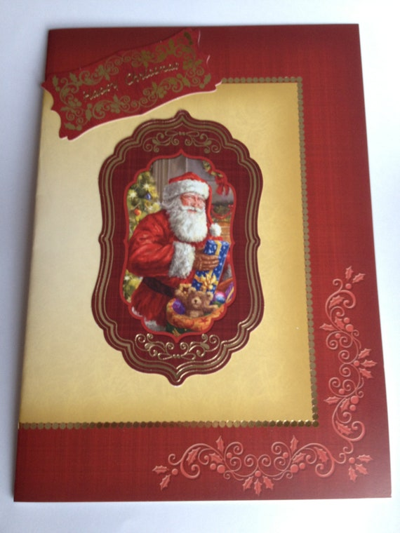 christmas card,red and gold foiled card, santa claus, childrens card, merry christmas