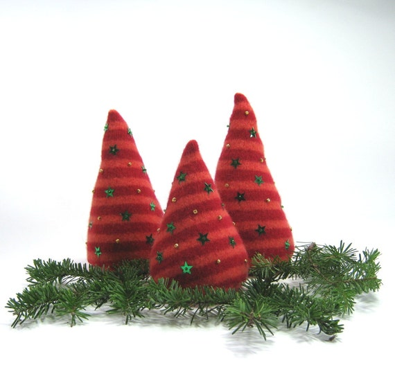 Red orange stripes Wool Christmas trees Green sequin stars Set of 3  Eco friendly decor Upcycled sweater