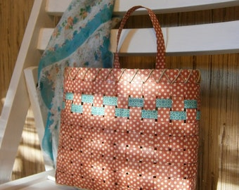 Upcycled Woven Paper Basket - Cinnabar/Red Polka Dots, Handmade, Medium 8X8 Size