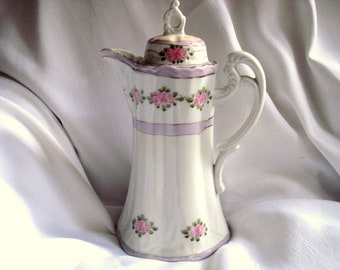 Shabby Chocolate Pot Coffee Pot Nippon Handpainted Pink Roses Cherry Blossom Mark Vintage