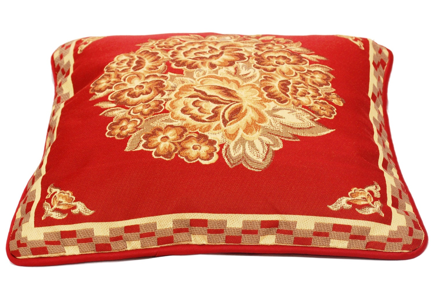 Maroon Throw Pillow Red Throw Pillow Cover Floral by TheHomeCorner