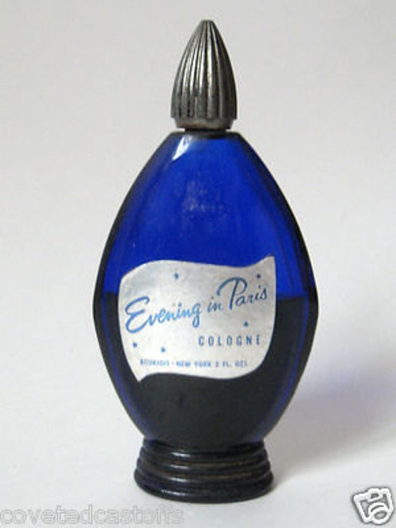 Deco 1940s Bourjois Evening In Paris France Cobalt Blue 2 Oz