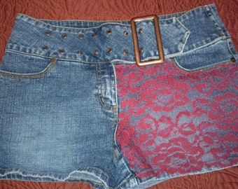 Upcycled Denim Womens/Junior Jean Shorts with Red Lace Size 11