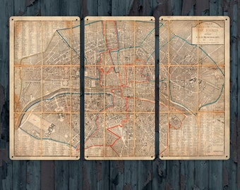 "Vintage Map of Paris Metal Triptych 36x24"" FREE SHIPPING"