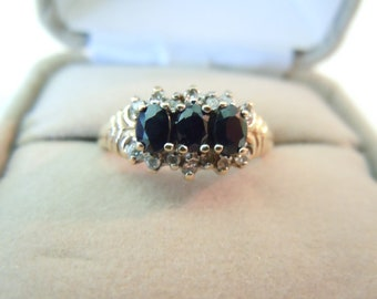 Vintage English gold ring with diamonds and sapphires hallmarked