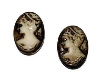 Vintage Brown Stained Glass Portrait Cameos, 18x13 mm, 2 pcs