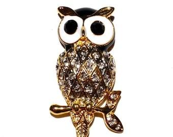 Enamel Rhinestone Owl Brooch, Animal Brooch, Owl