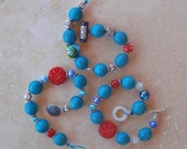 Whimsical & FUN Artisan Face Bracelet with Turquoise, glass and Bali Silver Beads