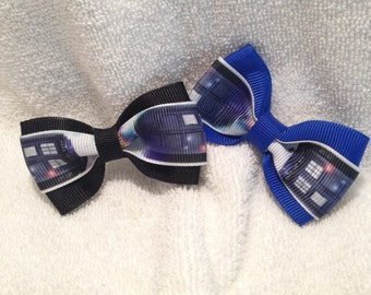 Doctor Who Tardis Wibbly Wobbly Hair Bow - 2 inches