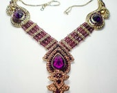 Purple crystal Stones Necklace set metal  works