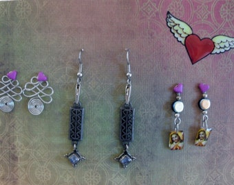 Handmade Interchangable Earrings With Upcycled And Vintage Components