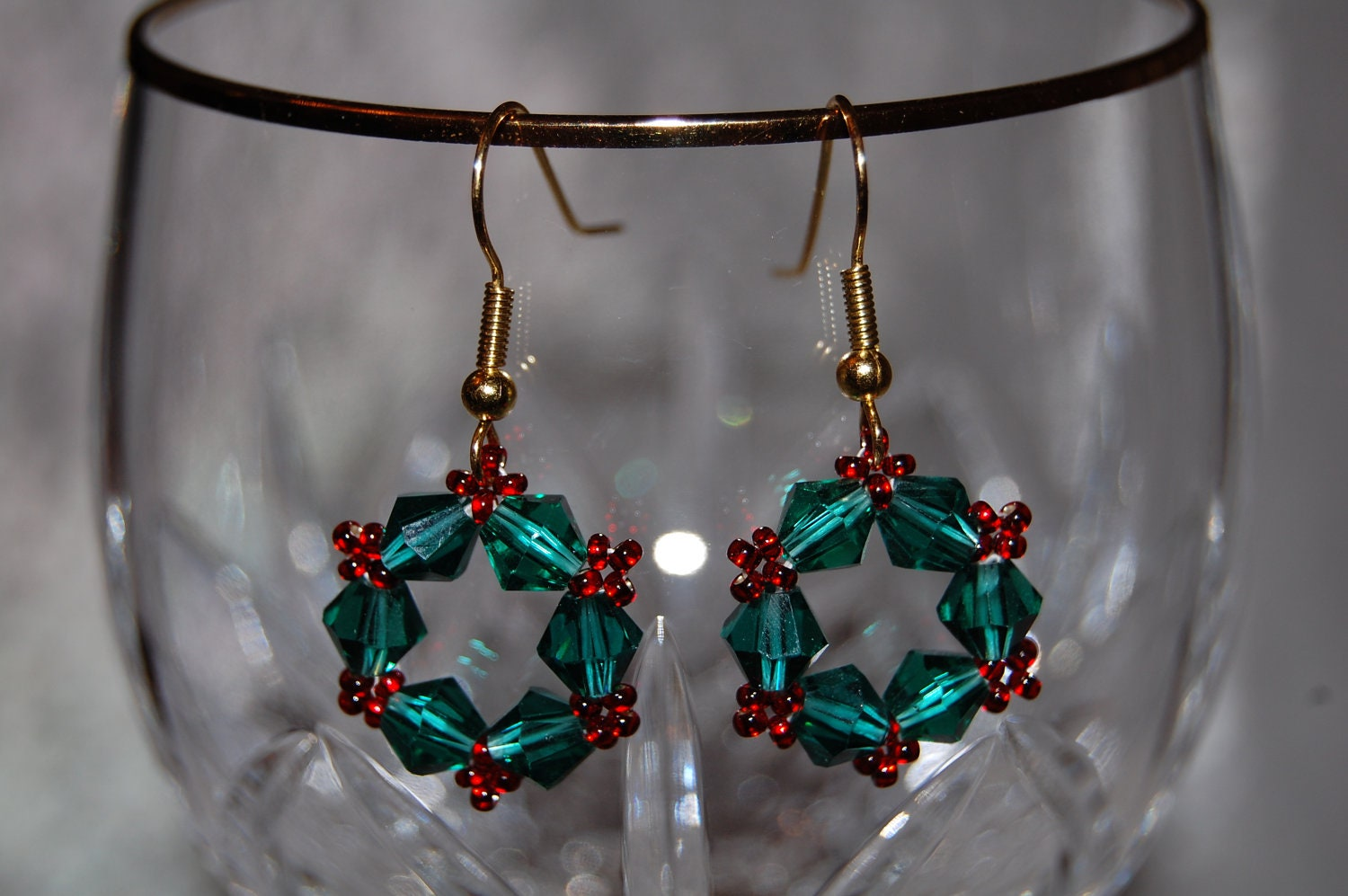Handmade Beaded Christmas Wreath Earrings