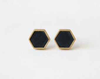 Black hexagon stud earring