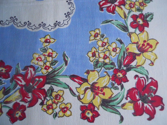 Vintage cotton tablecloth blue yellow red