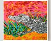 Animal art, Fine art, Original art, 10x10 acrylic painting giclee print of an alligator stepping out of a golden pond