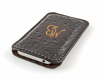 iPhone 5 ITALIAN Leather case.HAND-TOOLED. Customized, hand-dyed, hand-stitched, made in Italy.