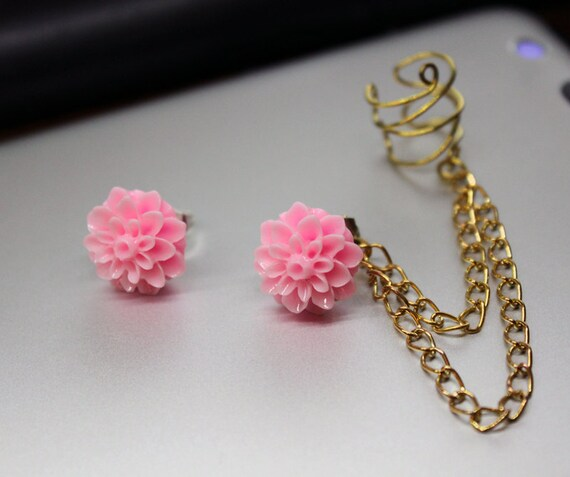 Bright Pink Chrysanthemum Studs With Gold Chain Cuff Earring Set