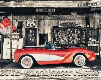 Route 66 - 57 Corvette - Classic Car Photo - Classic Car Art - Southwest - Old General Store - Americana - Retro - Gift Idea for Men
