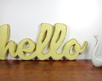 Hello wood sign, wall hanging, wedding decor, cottage decor, shabby chic, distressed, cottage chic, painted Earthly Yellow