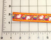 TRIM Woven Cloth 15 yards long by 1 inch wide Flowers and Hearts Red Yellow Orange Green White Blue
