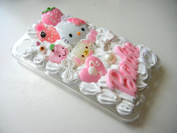 Pink Barbie Girly Kawaii Decoden Whipped Cream Iphone 4 Case