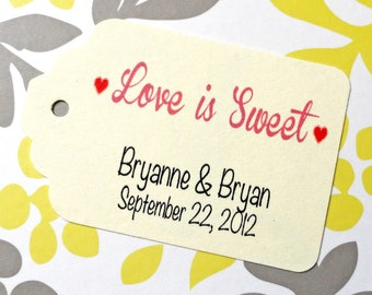 Custom Love is Sweet Wedding Favor Tags - Cream Cardstock