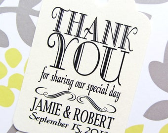Custom Thank You Wedding Favor Tags - Cream Cardstock