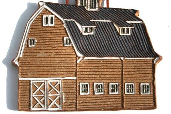 Reserved for DENISE Terra Cotta Barn Hanging Tile with Raised Siding Shiny Glazed windows and Dormer Loft Windows Farm Fabulous Decor