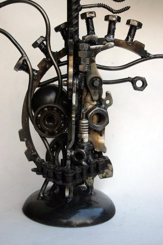 Steampunk Found Object Portrait Bust Welded Industrial